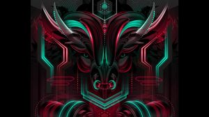 Preview wallpaper bull, neon, scheme, art