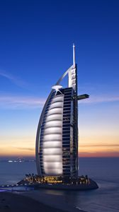 Preview wallpaper burj al arab hotel, dubai, uae, sky, sea