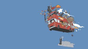 Preview wallpaper bus, flight, sky, animals, cartoon