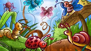 Preview wallpaper butterflies, beetles, fairy tale, insects, spider