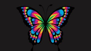 Preview wallpaper butterfly, shine, bright, multicolored, chromatic, prismatic