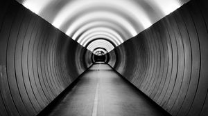 Preview wallpaper bw, tunnel, marking