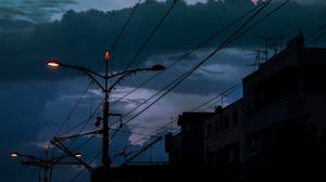 Preview wallpaper cable, poles, lights, city, twilight, dark