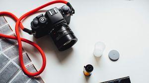 Preview wallpaper camera, film, strap, black