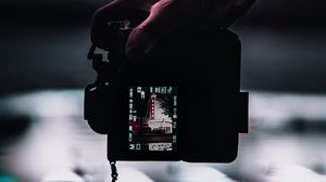 Preview wallpaper camera, hand, shooting, night