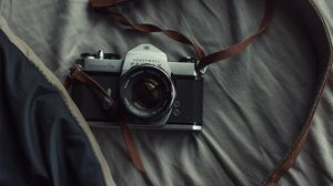 Preview wallpaper camera, lens, strap, photography