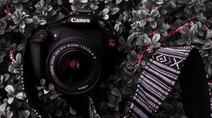 Preview wallpaper camera, lens, strap, plant, bush