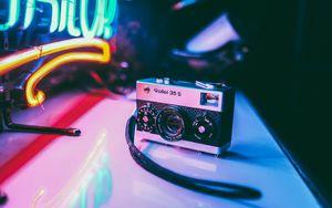 Preview wallpaper camera, neon, light, vintage, retro
