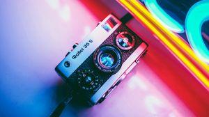 Preview wallpaper camera, neon, retro, light, colorful