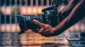 Preview wallpaper camera, photographer, hands, hobby