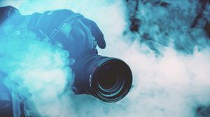Preview wallpaper camera, photographer, smoke, color smoke