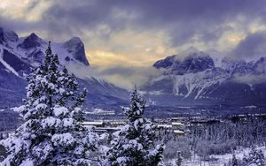 Preview wallpaper canada, mountain, alberta, banff national park, snow, winter