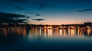 Preview wallpaper canada, night city, horizon, sky, sea