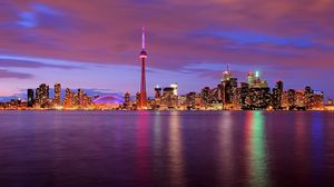Preview wallpaper canada, night, water, tower, lights, toronto