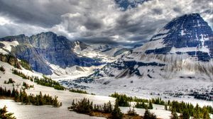 Preview wallpaper canada, park, mountains, snow, peaks, hdr