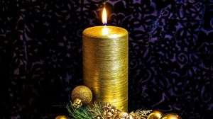 Preview wallpaper candle, pine needles, toys, gold