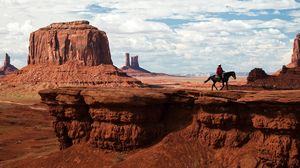 Preview wallpaper canyon, desert, horseback rider, wild west, cowboy