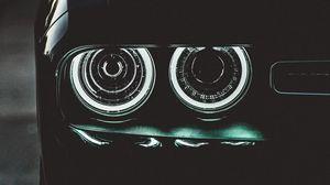 Preview wallpaper car, black, headlights, backlight, dark