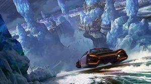 Preview wallpaper car, glaciers, sci-fi, speed