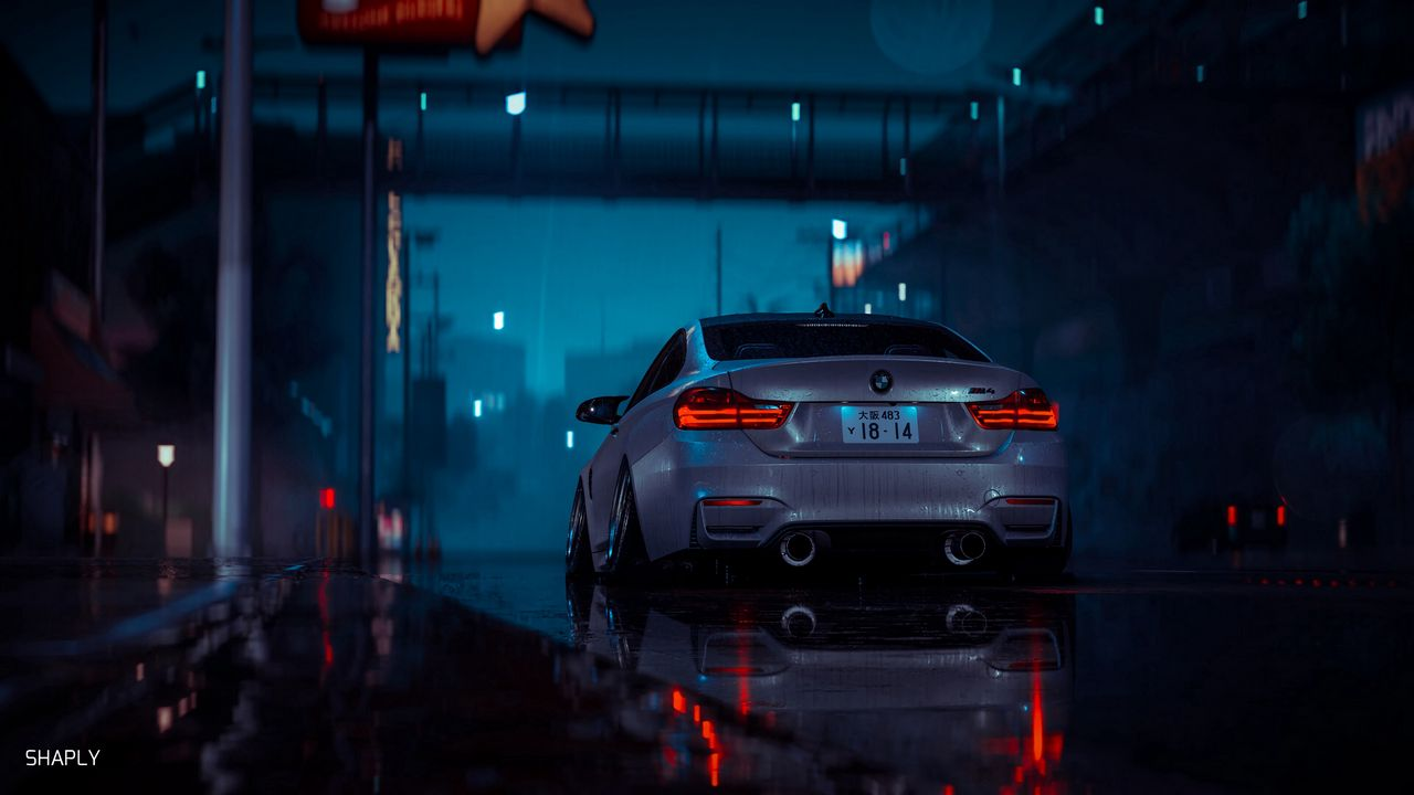 Wallpaper car, gray, wet, night, rain