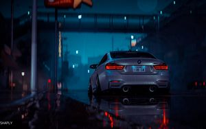 Preview wallpaper car, gray, wet, night, rain