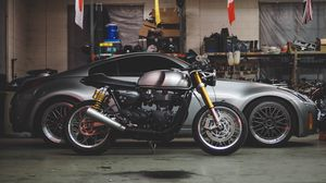 Preview wallpaper car, motorcycle, garage