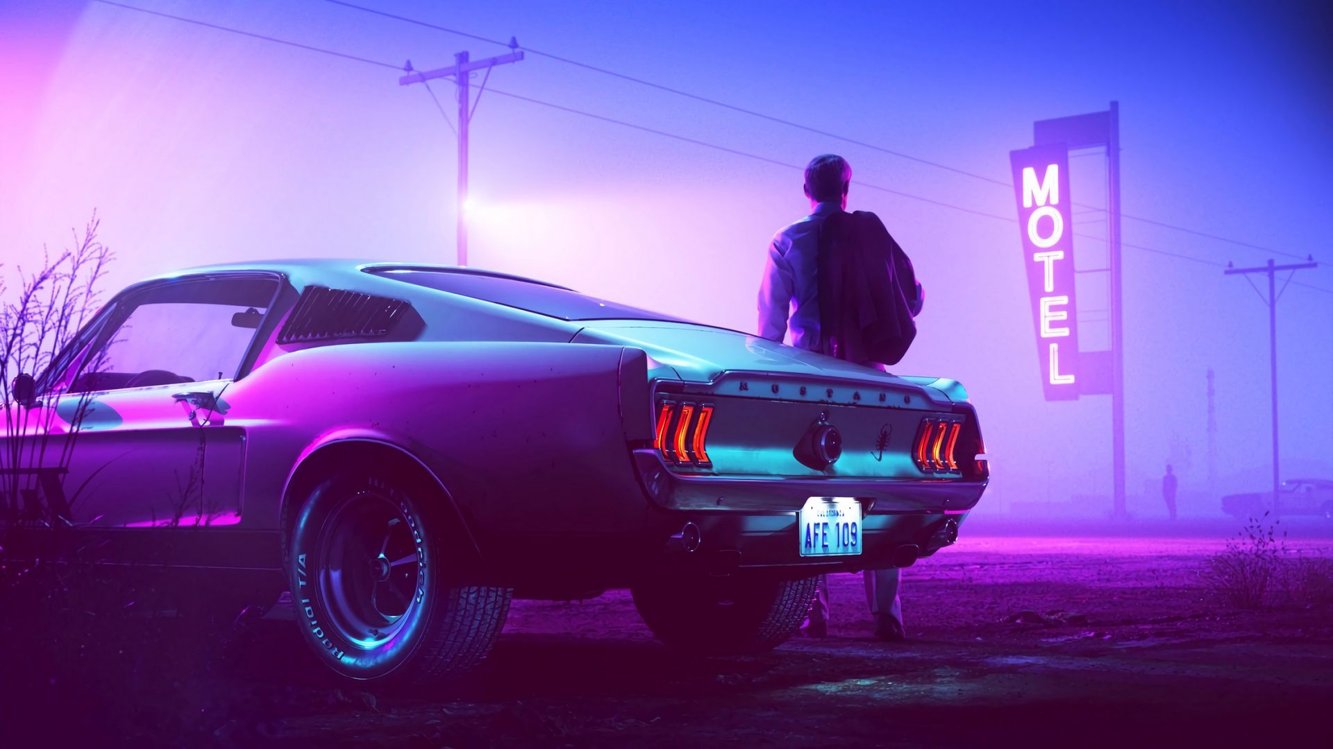 Download wallpaper 1920x1080 car, neon, man, sign full hd ...
