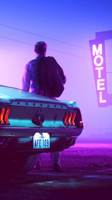 360x640 Wallpaper car, neon, man, sign