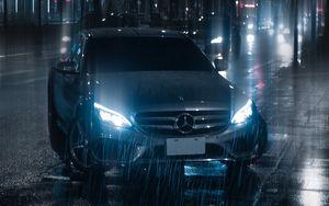 Preview wallpaper car, night, rain, light, street