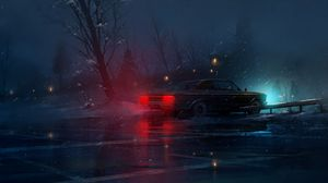 Preview wallpaper car, night, snow, light
