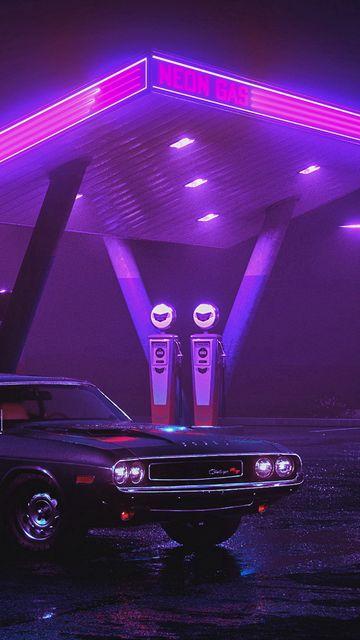 360x640 Wallpaper car, old, neon, refueling, night