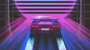 Preview wallpaper car, retro, art, 80s, neon