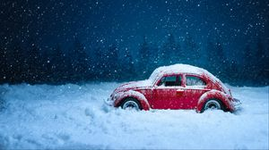 Preview wallpaper car, retro, winter, snow, snowfall, vintage, red, old