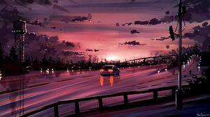 Preview wallpaper car, road, sunset, reflection, art, purple