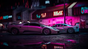 Preview wallpaper car, sports car, neon, backlight, street