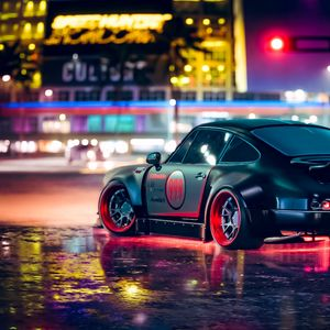 Preview wallpaper car, sports car, neon, backlight, asphalt
