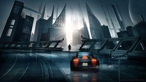 Preview wallpaper car, sports car, silhouette, city, cyberpunk, futurism