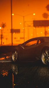 Preview wallpaper car, sports car, sunset, night