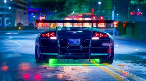 Preview wallpaper car, sportscar, neon, backlight, road
