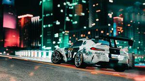 Preview wallpaper car, sportscar, road, city, lights