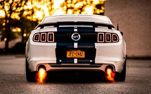 Preview wallpaper car, sportscar, white, rear view, fire, power