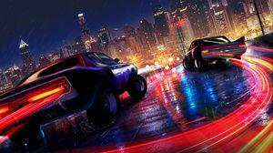 Preview wallpaper cars, lights, city, motion, rain, wet