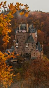 Preview wallpaper castle, autumn, architecture, germany, branches, leaves