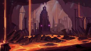 Preview wallpaper castle, building, tower, lava, fantasy, art