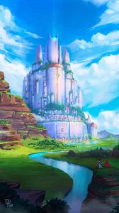 Preview wallpaper castle, fantasy, river, art