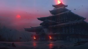 Preview wallpaper pagoda, temple, castle, japanese temple, fantasy, art