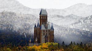 Preview wallpaper castle, landscape, art, autumn