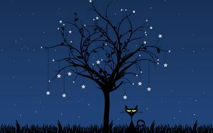 Preview wallpaper cat, art, tree, vector