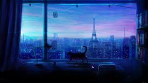Preview wallpaper cat, art, window, city, view