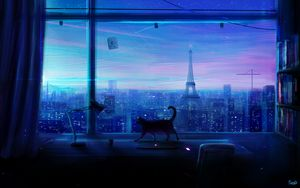 Preview wallpaper cat, art, window, city, view